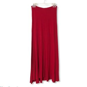 LuLaRoe Red Maxi Knit Skirt—XS